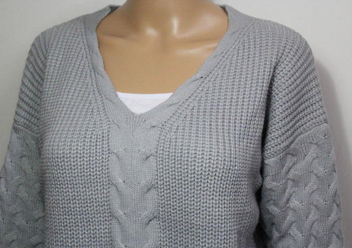 Lady Fashion Acrylic Knitted Pullover Sweater in Twist Design (YKY2003)
