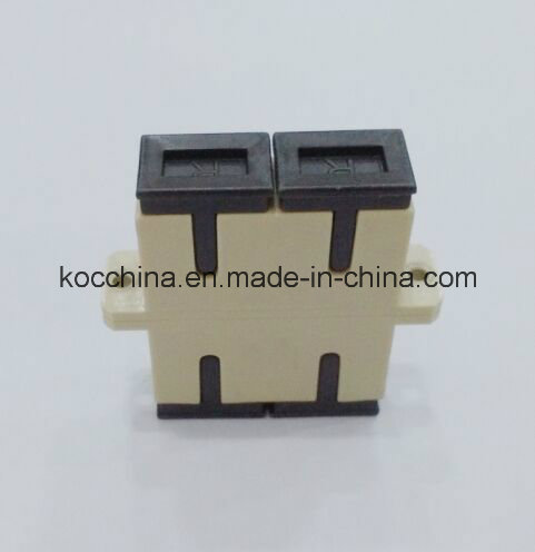 Sc Sm Dx Fiber Optic Duplex Adaptor with Beige Color Koc