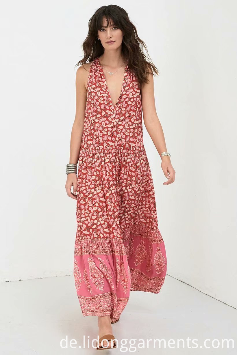 Flower Printing Long Dress