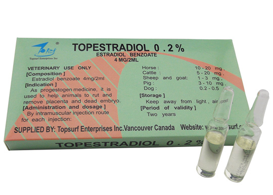 Veterinary Drugs of Estradiol Benzoate Injection(4mg/2ml)