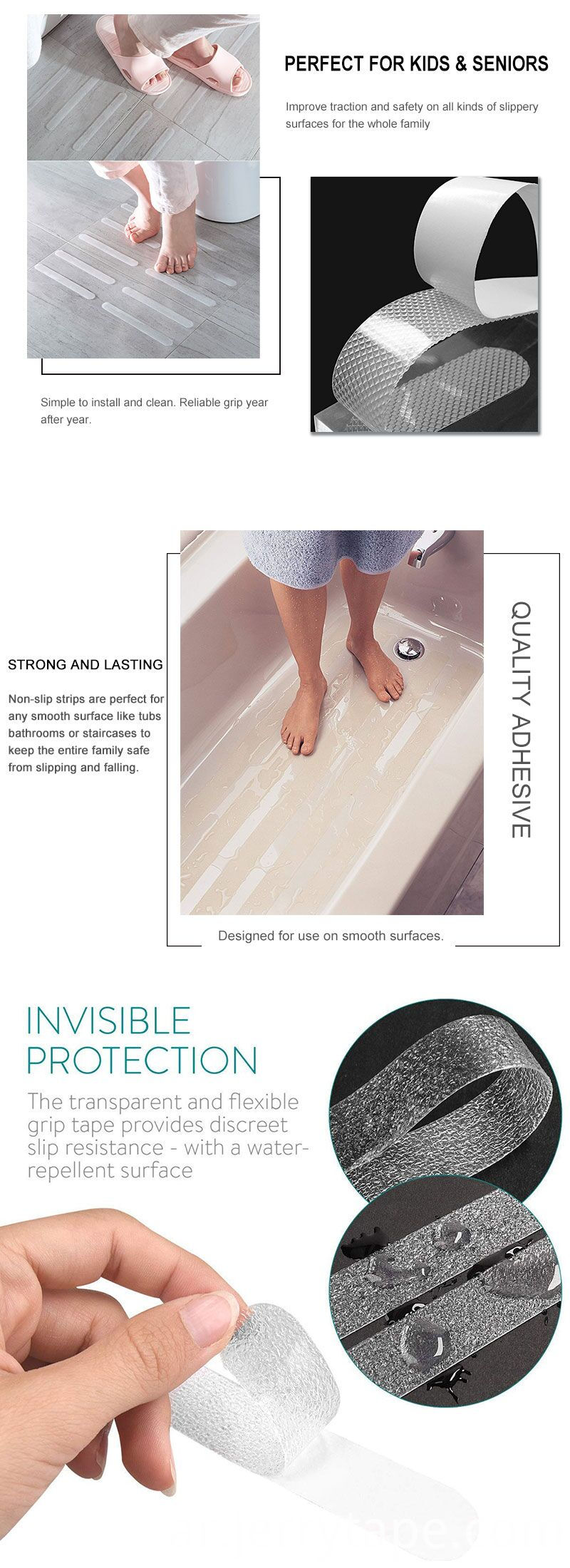 Non Abrasive Barefoot Anti Slip Tape For Showers