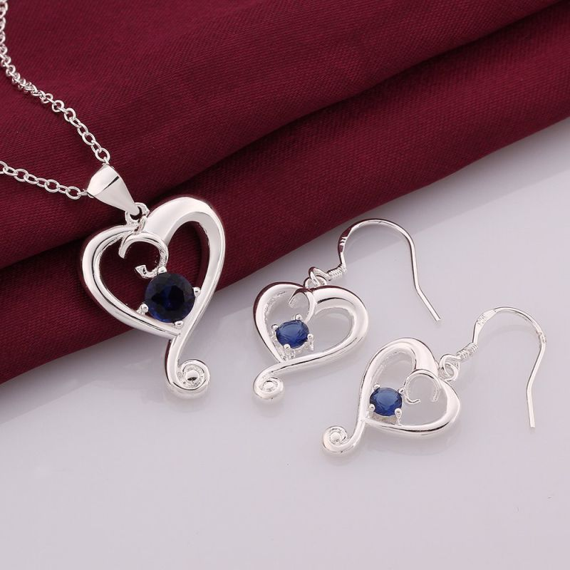Fashion Jewelry Sets Heart Shape Zircon Silver Plated Necklace and Earrings
