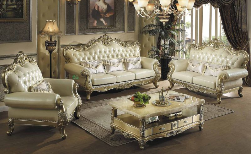 Living Room Furniture Set with Wood Leather Sofa Set (533)