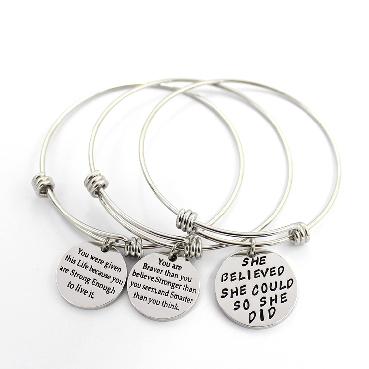 Round Customerized Text Bangle Stainless Steel Bracelet Fashion Jewelry
