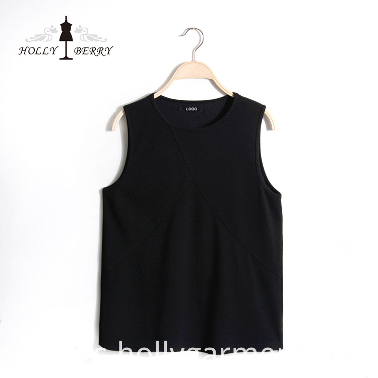 Black Solid Vest for Ladies