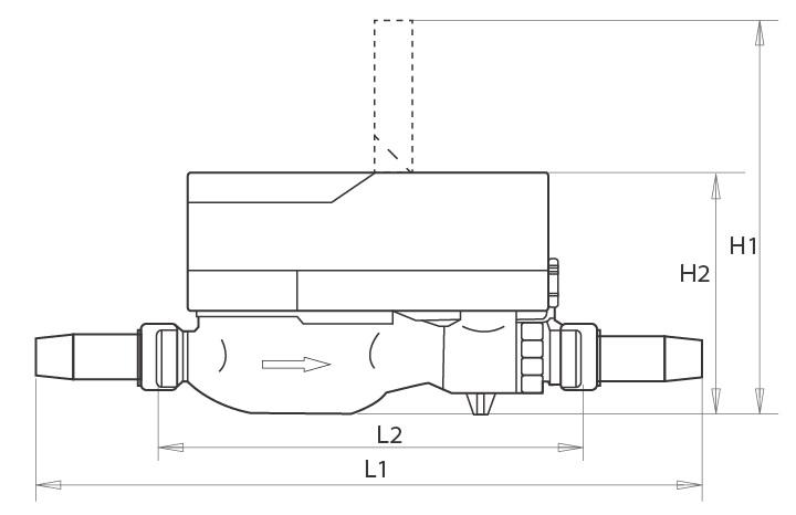 Smart Prepaid Flow Water Meter with Brass Water Meter Body