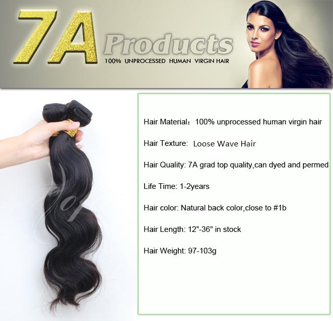 100%Unprocessed Brazilian Human Hair Remy Virgin Hair Extension