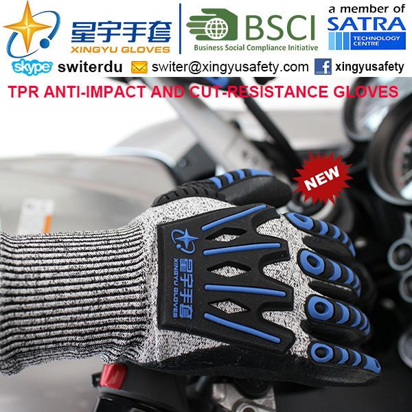 Cut-Resistance and Anti-Impact TPR Gloves, 15g Hppe Shell Cut-Level 3, Foam Nitrile Palm Coated, Anti-Impact TPR on Back Mechanic Gloves