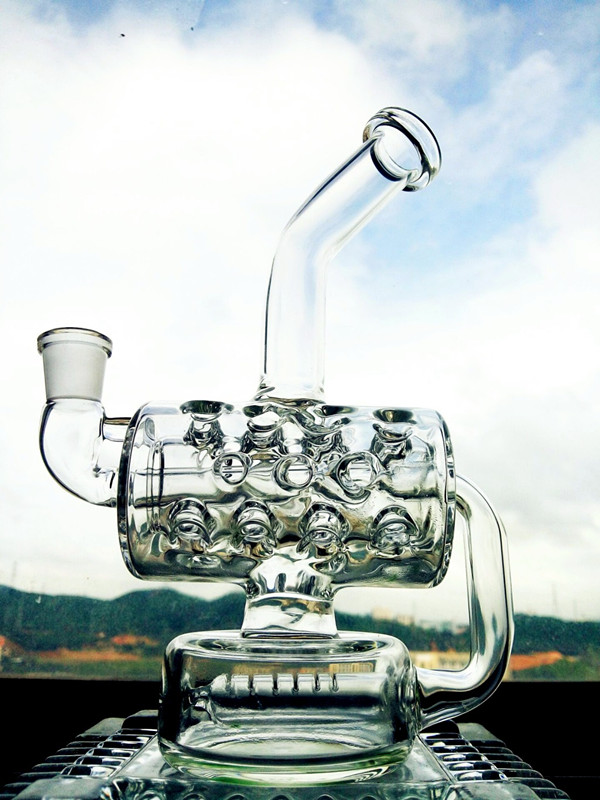 New Design 12 Inch Height Mini Portable Recycler Glass Water Pipe