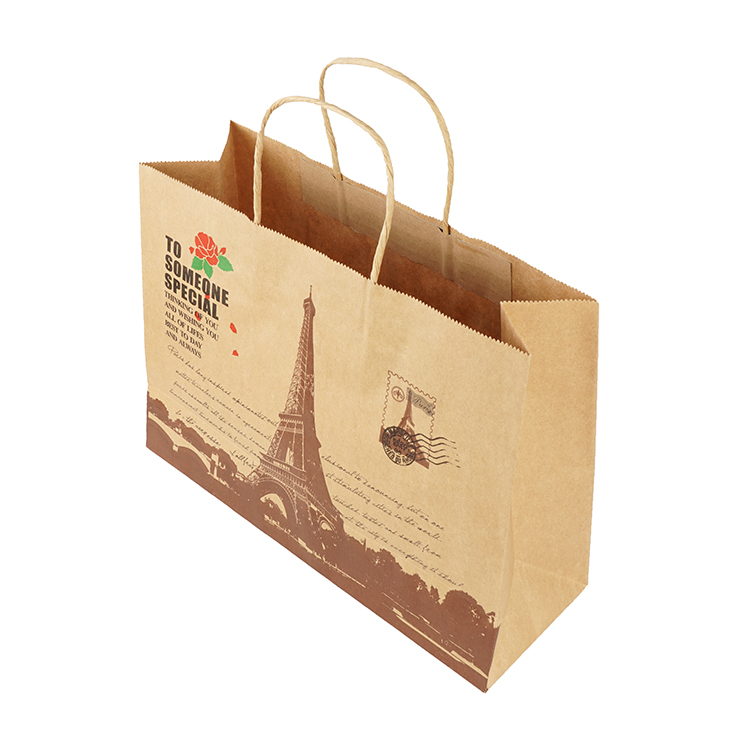 Recycled handle kraft paper bag