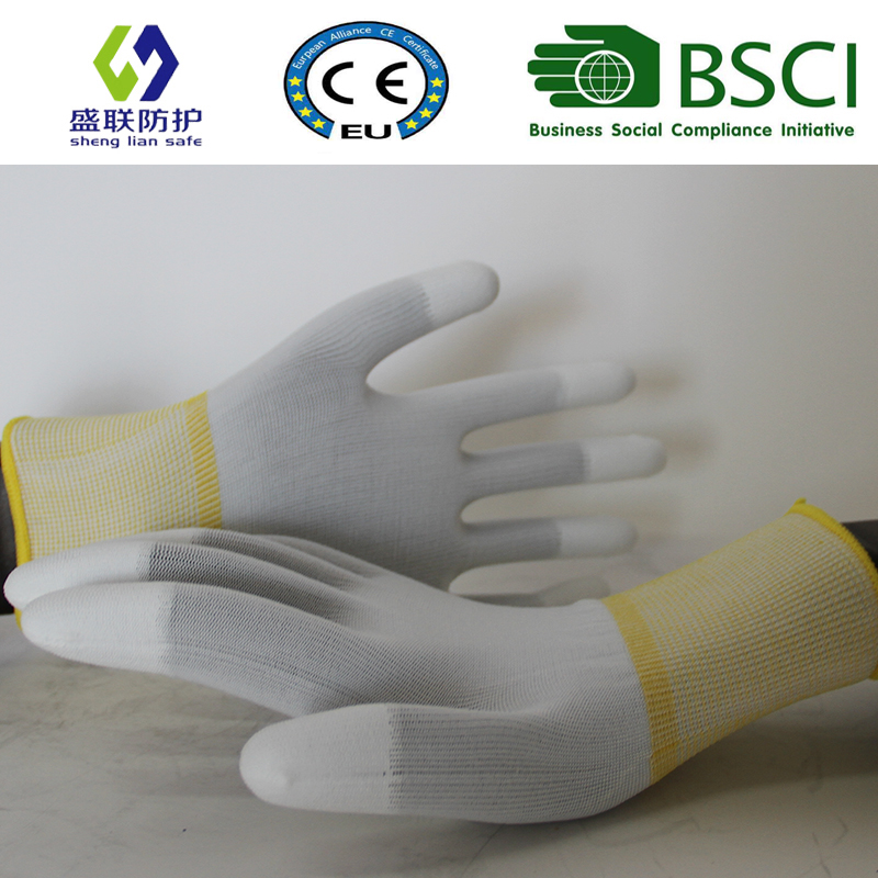 13G Polyester Lining PU Coated Safety Work Glove (PU205)
