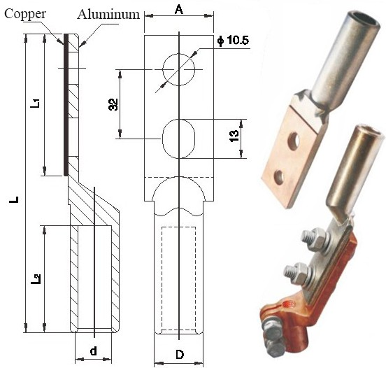 Dtl2 Type Double Hole Brazing Bimetal Connecting Lugs