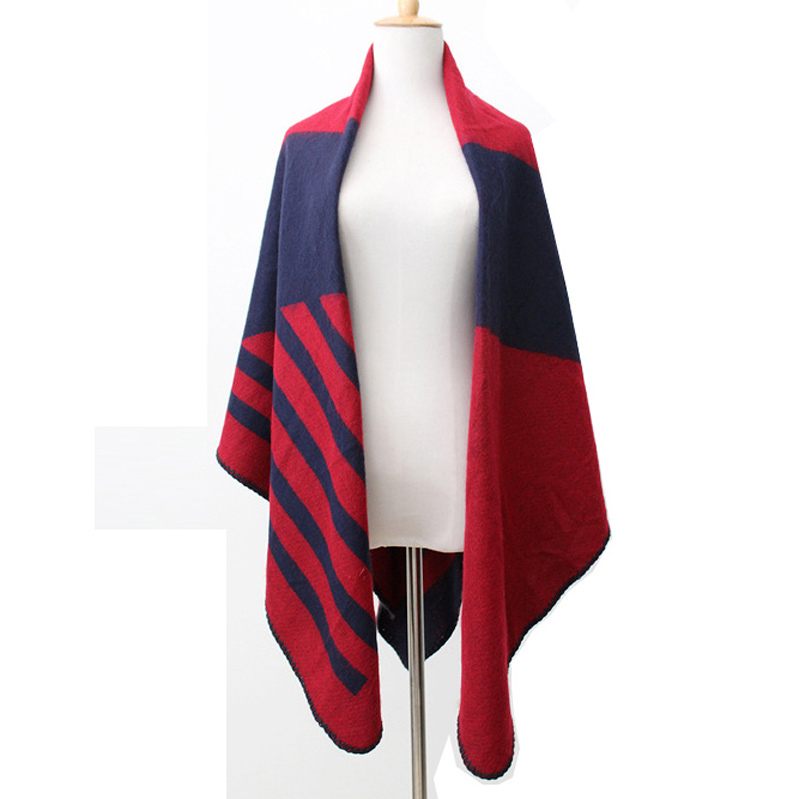 Womens Striped Knitted Cashmere Like Stole Wraps Scarf Poncho Shawl (SP286)