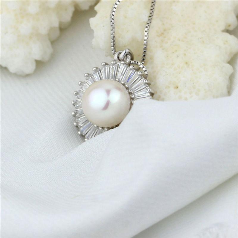 Shining Zircon Beaded Natural Freshwater Pearl Jewelry Pendant