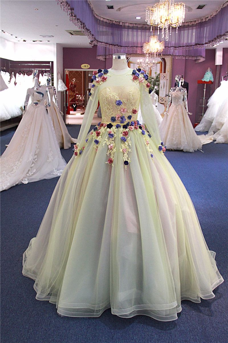Long Sleeve Yellow Flower Party Formal Prom Evening Gowns