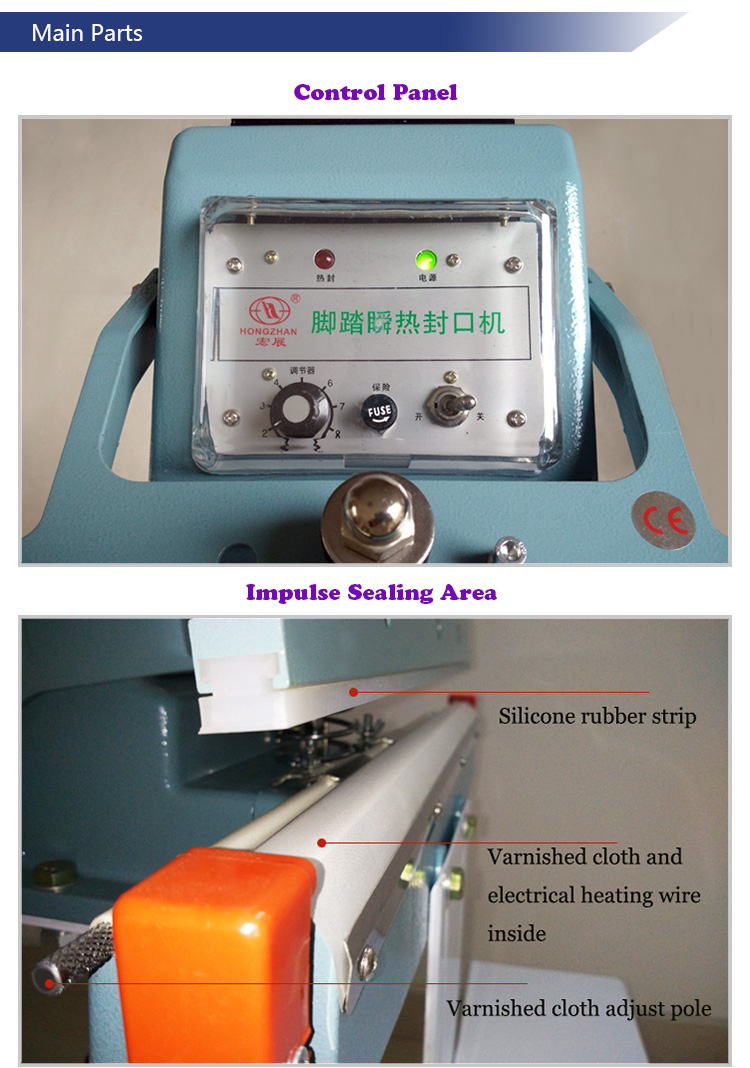 Metal Machine Body Pedal Sealer for PE PP LDPE LLDPE Hm HDPE Glass Paper Nylon, BOPP Aluminum Foil Kraft Paper