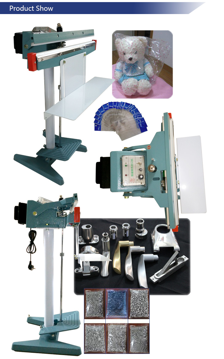 Portable Pedal Sealing Machine with 100/200/300/400/500mm Impulse Seal Device and Copper Transformer