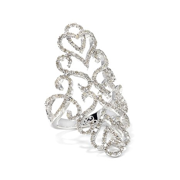 Cubic Zirconia Filigree Ring in 14k White Gold Plated