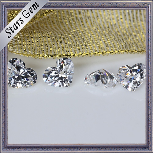 High Quality Excellent Cut Well Polished Heart Shape Cubic Zirconia Stones