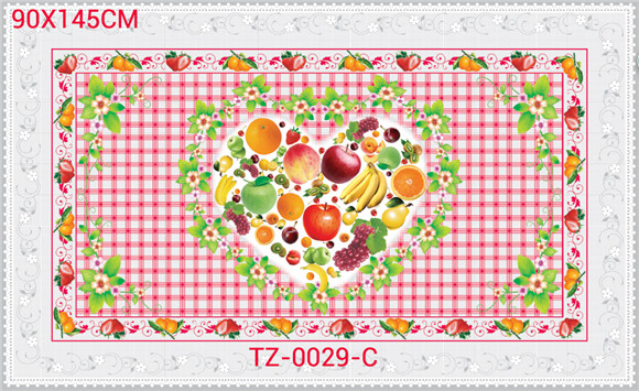 China Factory Cheap All in One Independent Design LFGB Transparent Printed Tablecloth 90*145cm