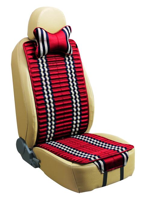 Checked Linen and Velvet Car Seat Cover Double Sides Use-Red