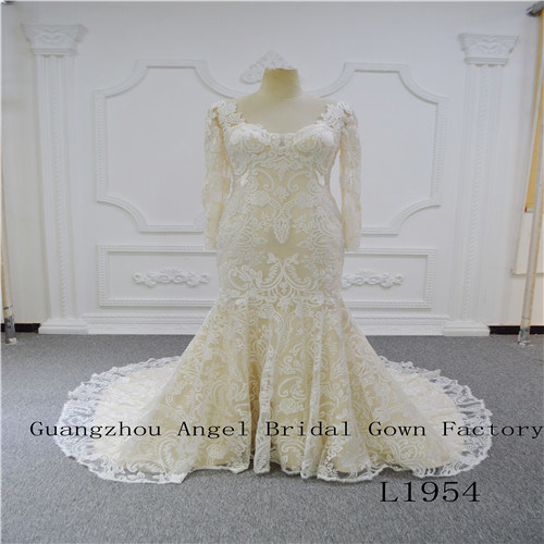 Long Sleeve with Unique Lace Wedding Dress