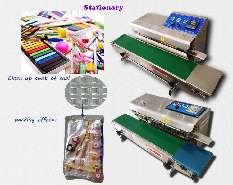 Continuous Film Sealing Machine with Horizontal and Vertical Type Packing Bag Band Heat Sealer for PE PP LDPE LLDPE Hm HDPE