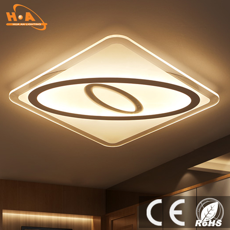 Modern Square Ultra Slim Indoor Lighting LED Ceiling Light Crystal