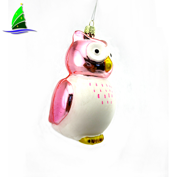 Hanging Glass Pink Owl Ornament