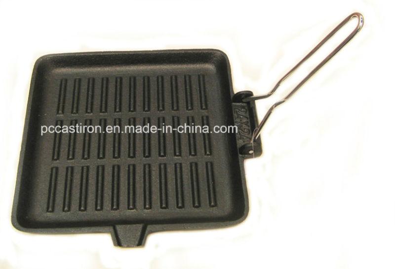 Square Preseasoned Cast Iron Skillet Size 24X24cm