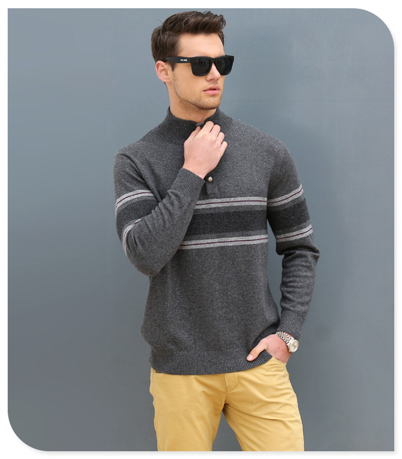 Polo Neck Men's Cashmere Sweater/Christmas Sweater Knitting Patterns