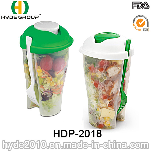 Various Color Plastic Salad Shaker Cup with Fork (HDP-2018)