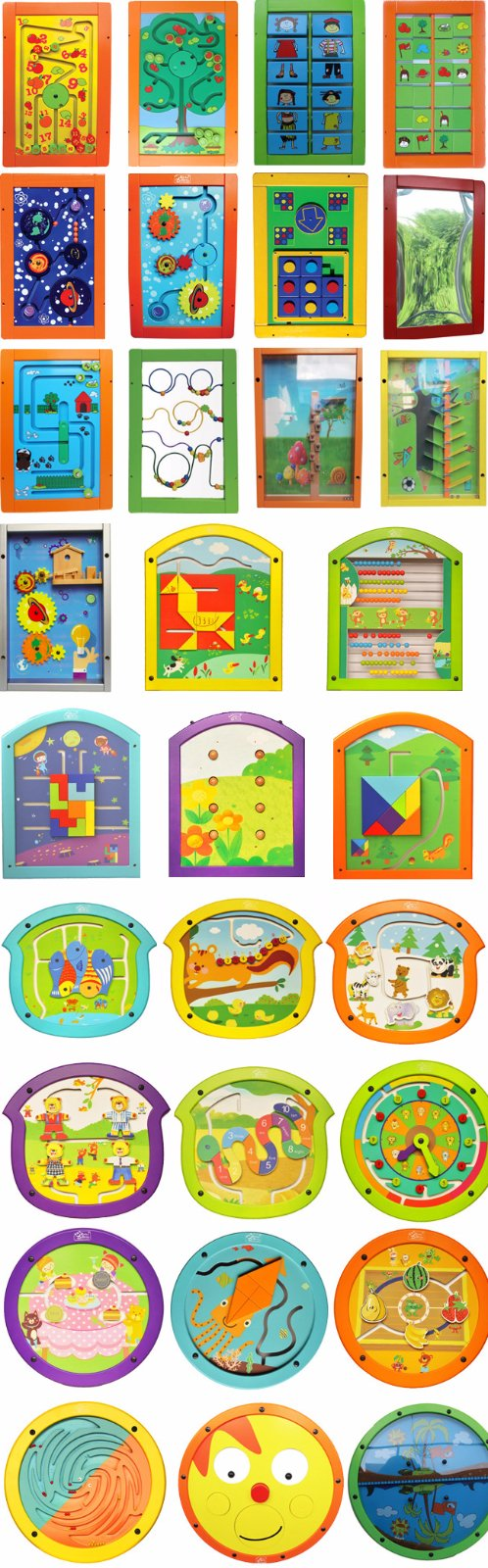 Colorful Wood Play Board Mounted on Wall for Children