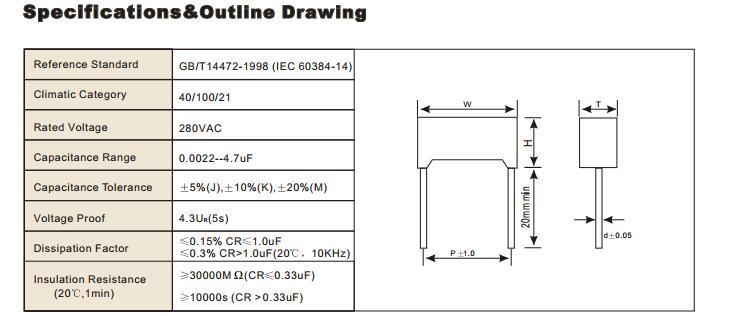 104 K275V Metallized Polypropylene Film X2 Capacitor