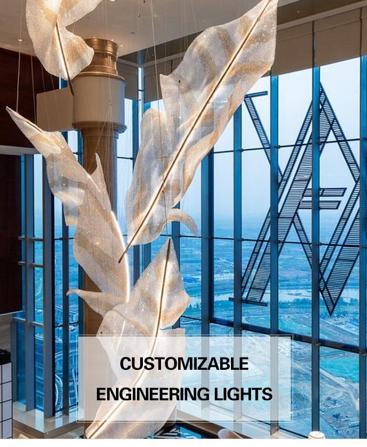 Plafond personnalisé grand lustre luxe K9 or cristal verre suspendu hôtel suspension lampe