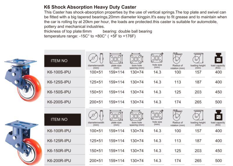 PU Casting Iron K6 Shock Absorption Heavy Duty Caster Brake