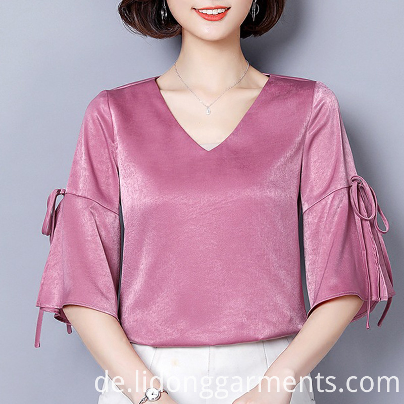 Women Blouses with Bow Decorative