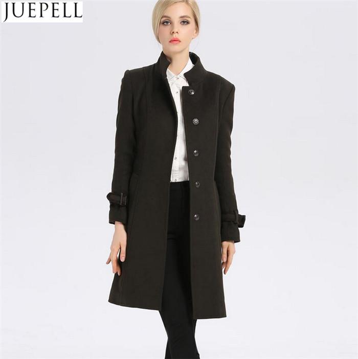 New Women's Autumn and Winter Wool Coat Women Windbreaker and Long Sections Slim Woolen Collar Women Coat