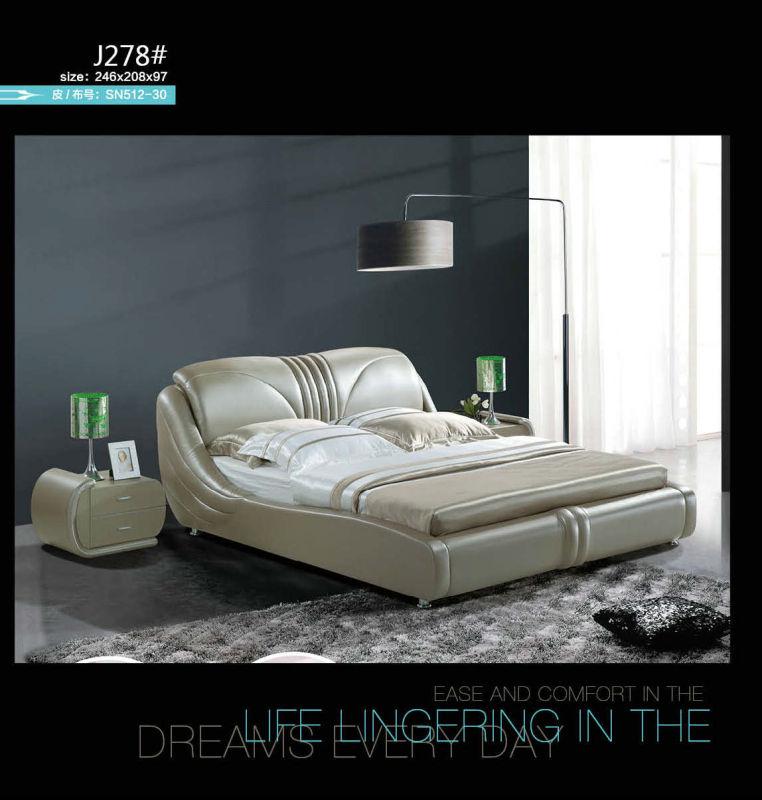 Kd Furniture, Bedroom Furniture, Modern Leather Bed (J037)