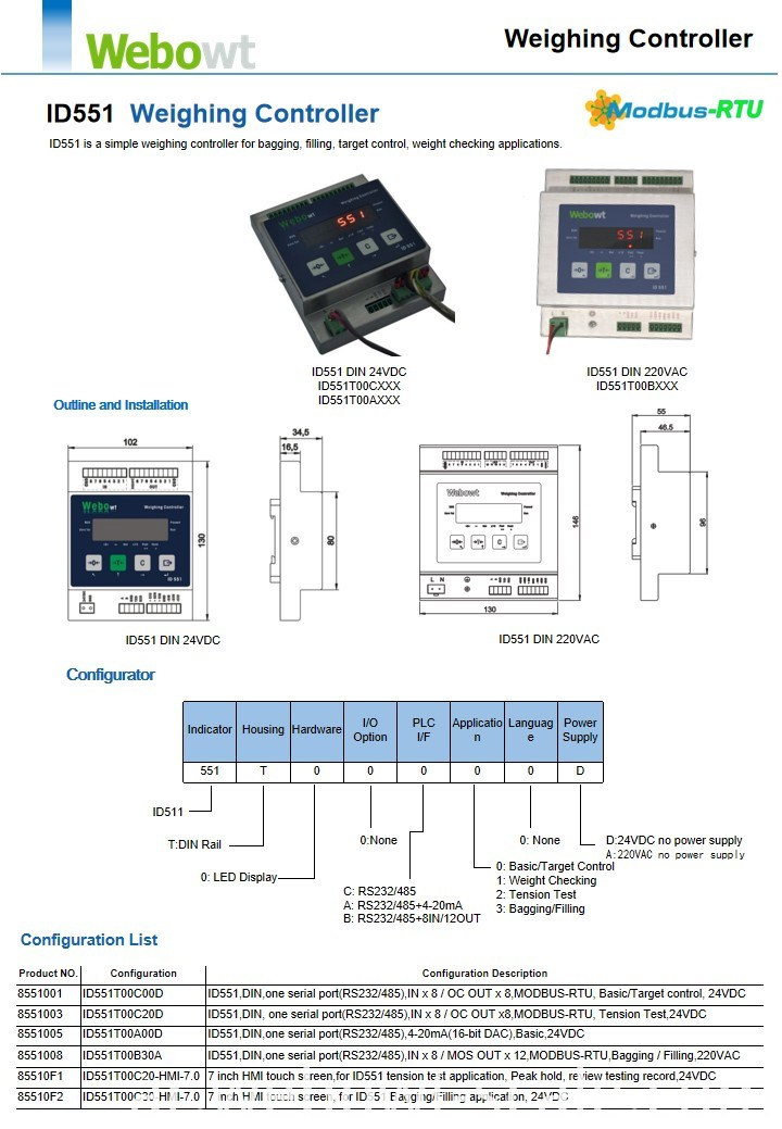 Electronic Weighing Controller