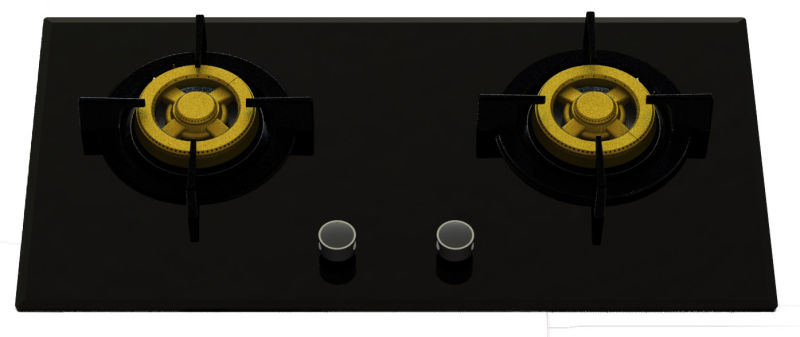 Supreme Two Brass Burner Gas Hob (8mm Glass)