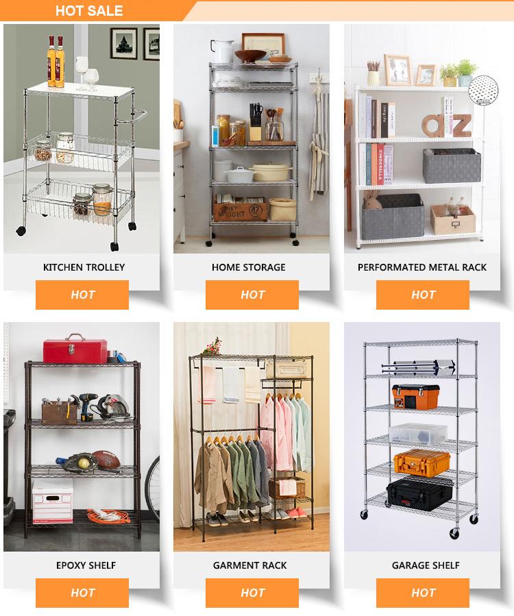 Online Hot Sale 5 Tier Silver Home Organizer Shelving