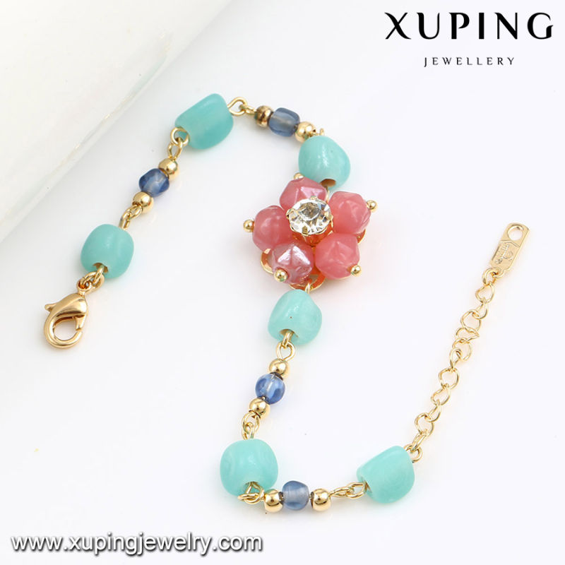 74587 Fashion Newest Colorful Bead Jewelry Flower Bracelet in 18k Gold-Plated