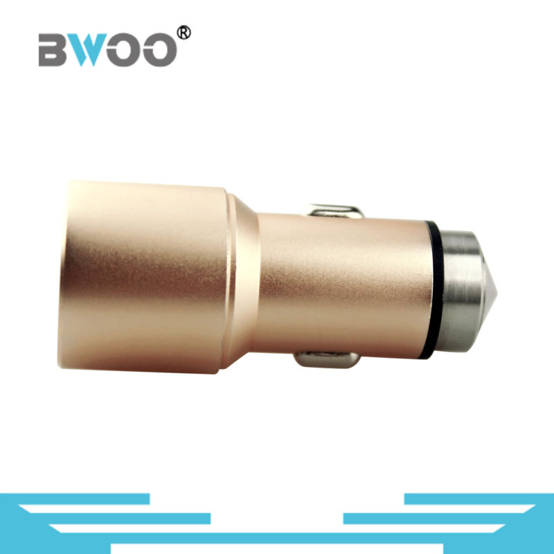 Multi-Function USB Car Charger with Emergency Metal Safety Hammer