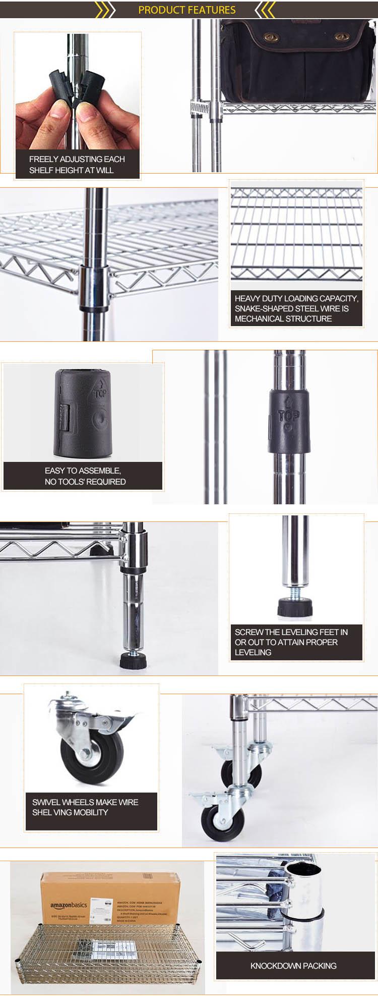 NSF Adjustable Metal Drugstore Pharmacy Wire Shelf Rack with Wheels