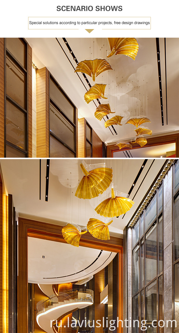 leaf shape led chandelier pendant light