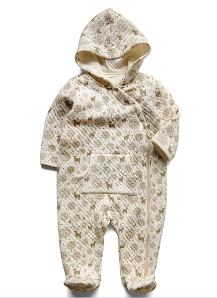 Winter Organic Cotton Romper with Hat Made in China with Gots Certification