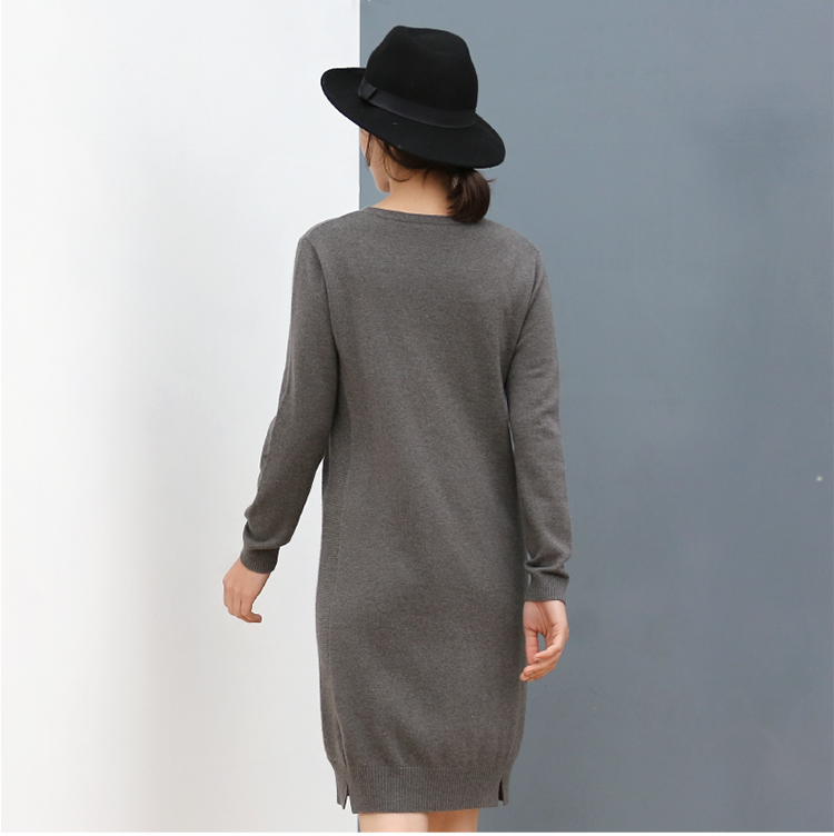 2017 Fall Women Cashmere 7gg Knitted OEM Cardigan Sweater Pure Color Long Style