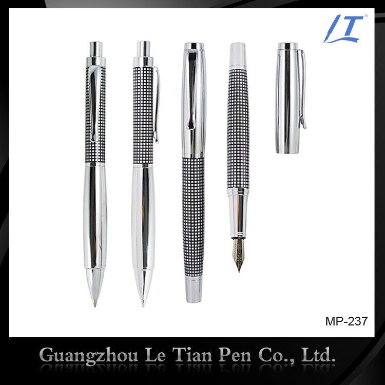 Classical Etching Metal Ballpoint Pen and Cap-off Rollerball Pen