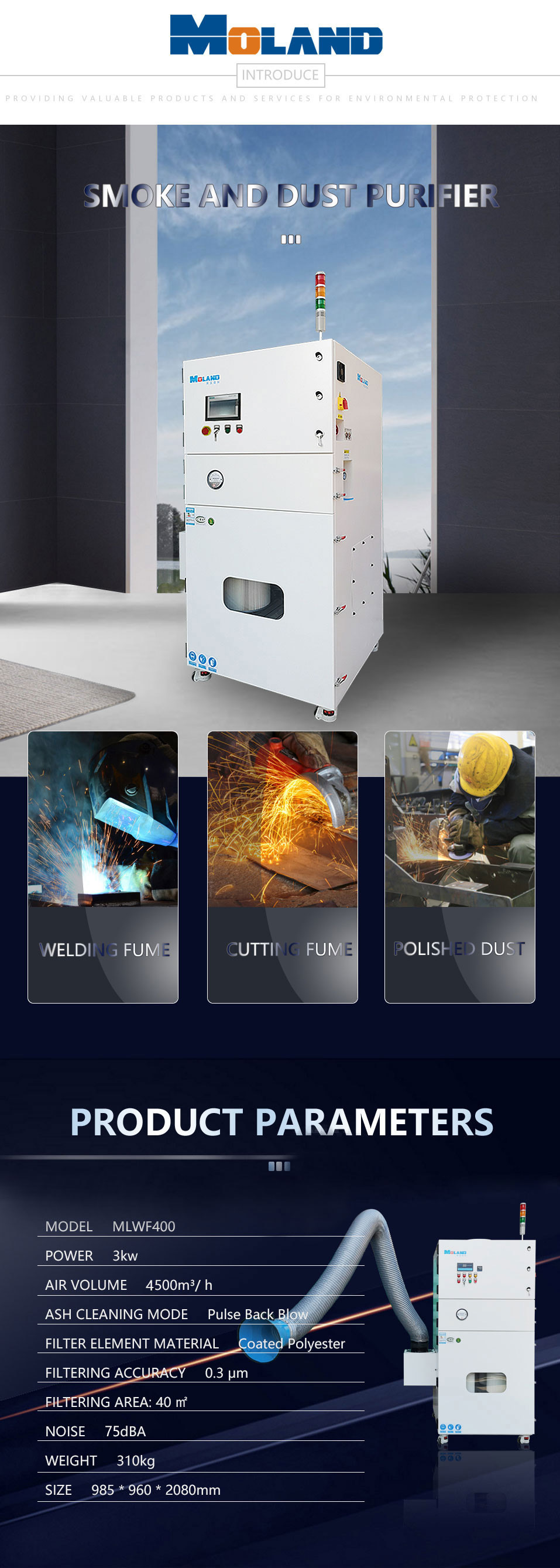 Dust Collection with Dust Collecting Hood and Dust Cleaning System with Robot Automatic Welding